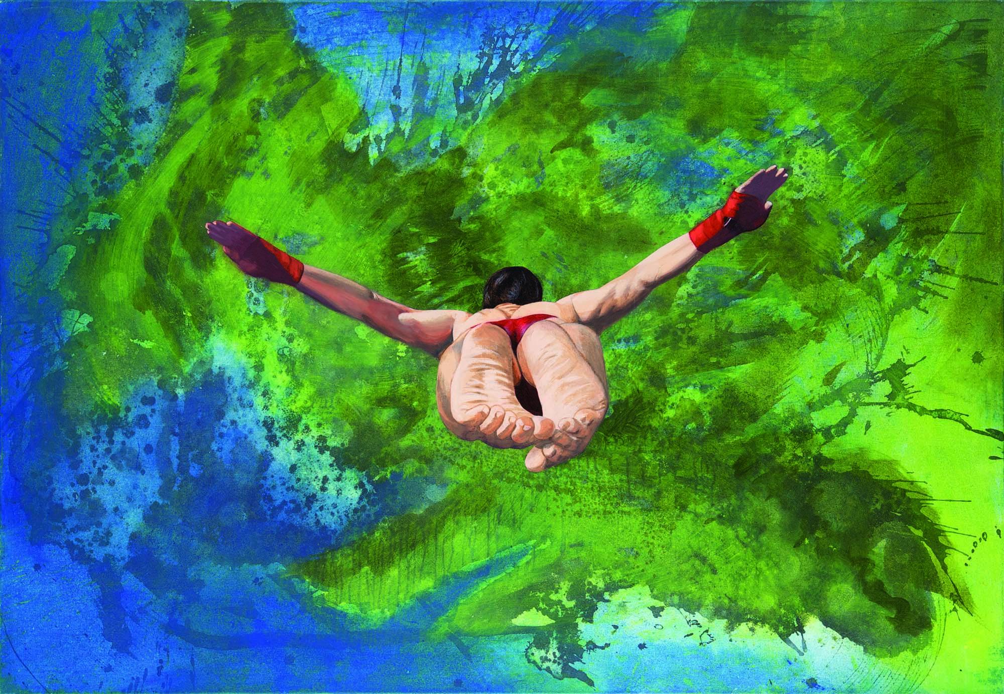 Gerhard Knell Landschaftsvisionen Landschaft Malerei Kunst Gemälde Acryl figürlich realistisch Großformatige Acrylmalerei Editionen Fine Art Prints grün blau Klippenspringer Acapulco Badehose Höhe realistisch Füsse Kruzifix