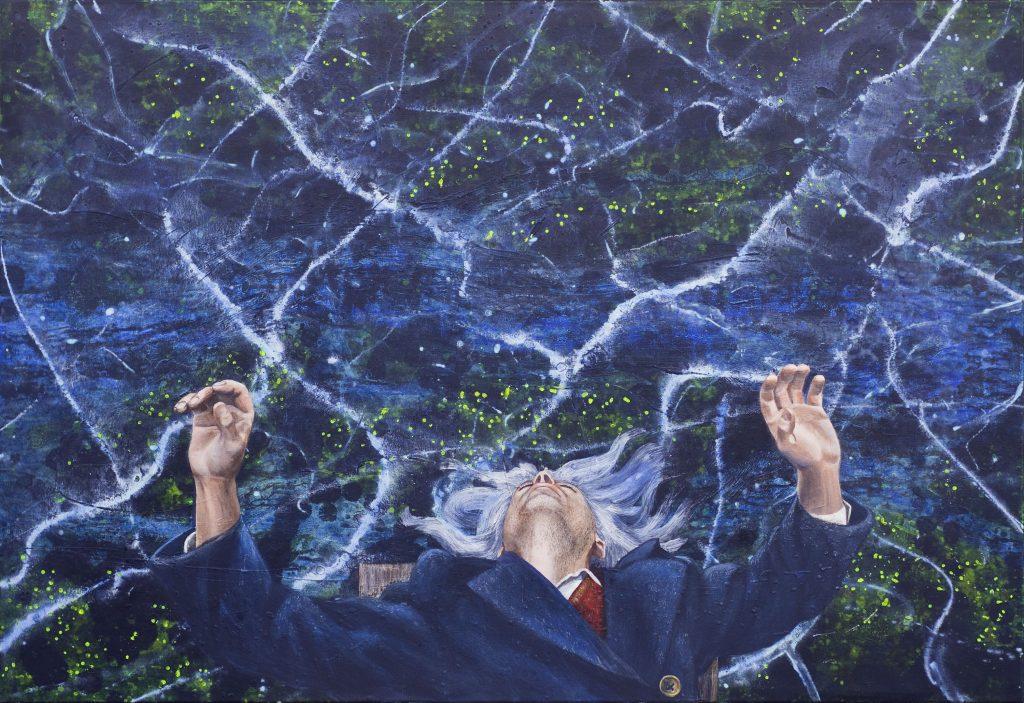 Acrylgemälde realistische Darstellung Ausserkörperlicher Wahrnehmung.