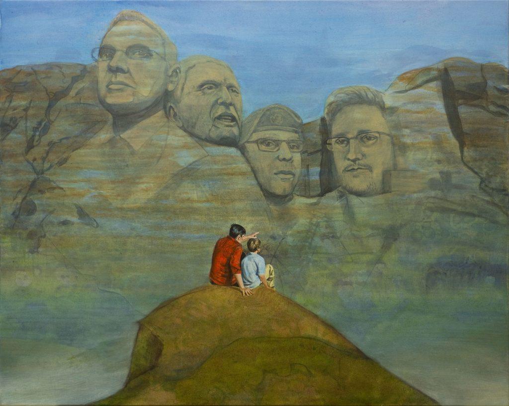 Figürliches Gemälde in Acryl. Vater und Sohn vor Felsen Mount Rushmore mit Whistleblowern.