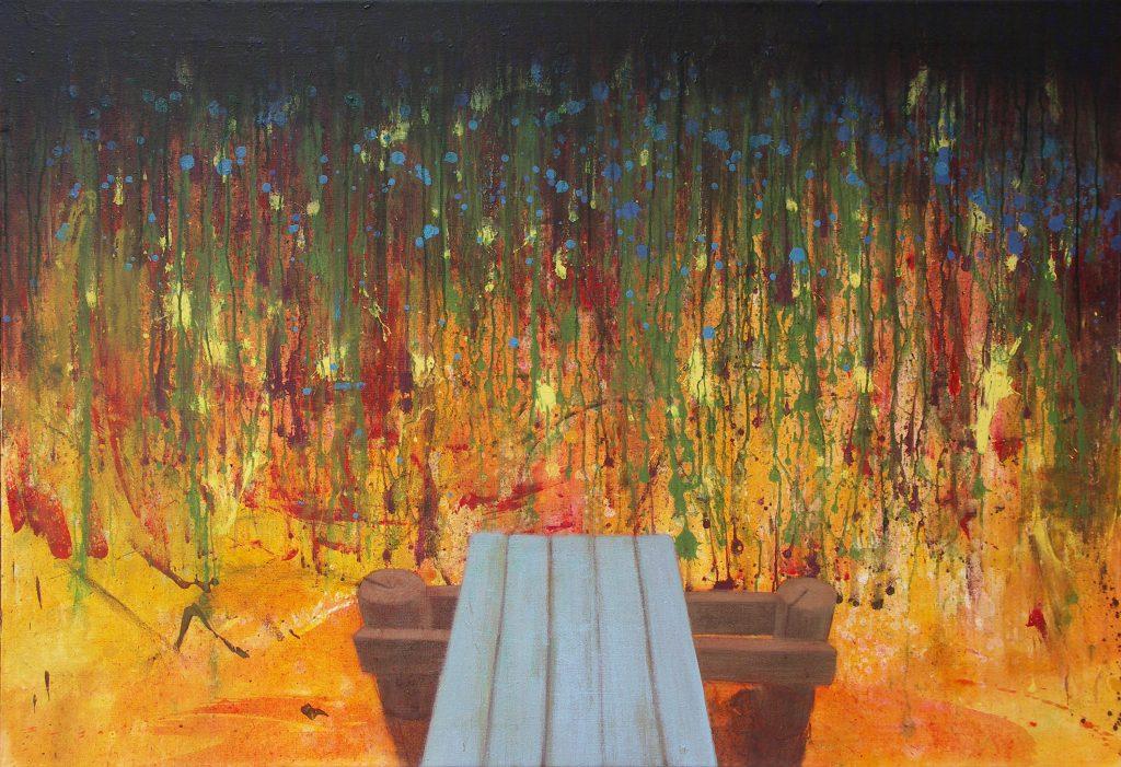 Landschaftsvisionen in Acryl: Steg ins Wasser, Action Painting.