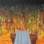 Gerhard Knell Landschaftsvisionen Landschaft Malerei Kunst Gemälde Acryl figürlich realistisch Großformatige Acrylmalerei Editionen Fine Art Prints grün orange Steg bunt Action Painting Wasser Herbst einsam