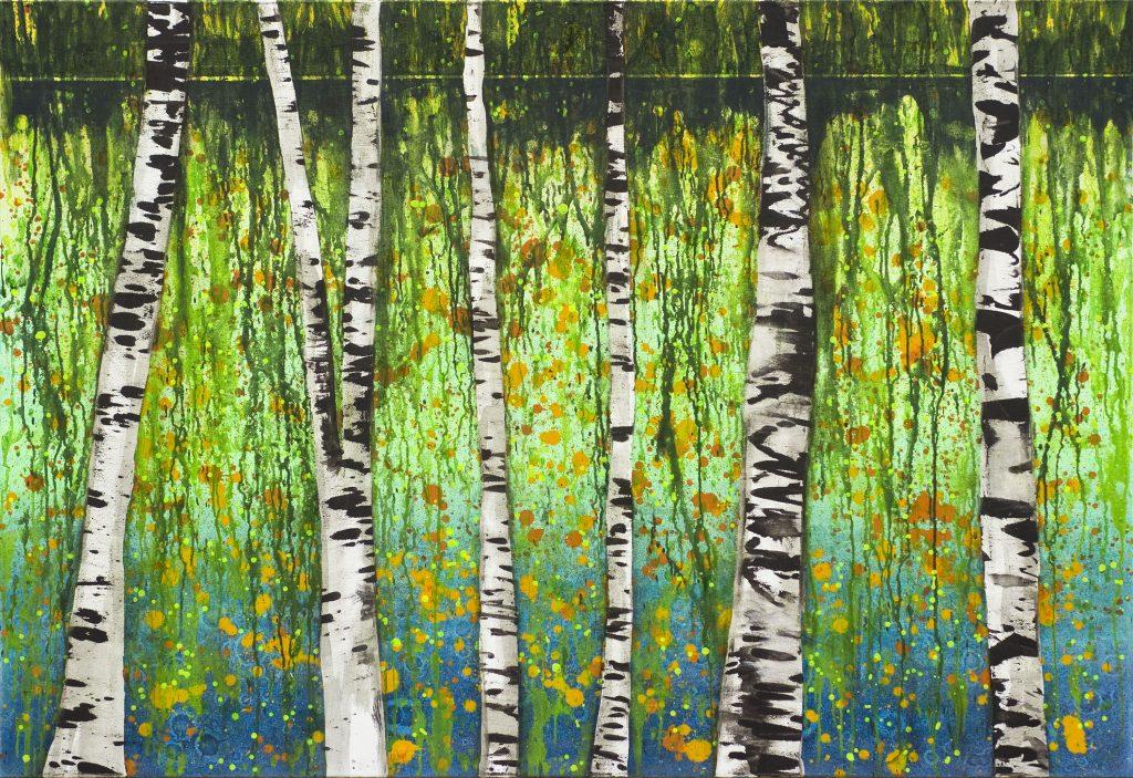 Realistisches Gemälde in Acryl: Ufer mit Waldrand und Birken.