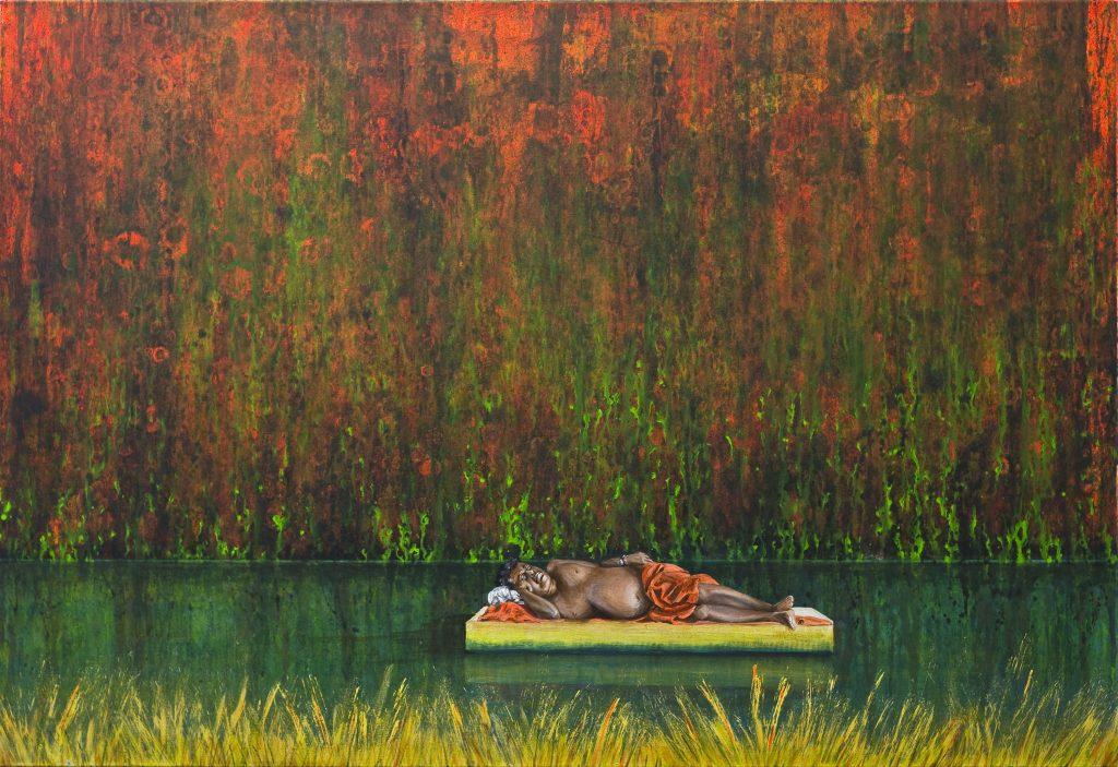 Gerhard Knell Landschaftsvisionen in Acryl realistisch: Mann schläft nackt am Wasser mit Armbanduhr entspannt.