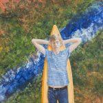 Gerhard Knell Landschaftsvisionen Landschaft Malerei Kunst Gemälde Acryl figürlich realistisch Großformatige Acrylmalerei Editionen Fine Art Prints grün orange blau Junge Surfbrett surfen träumen schlafen Jeans T-Shirt