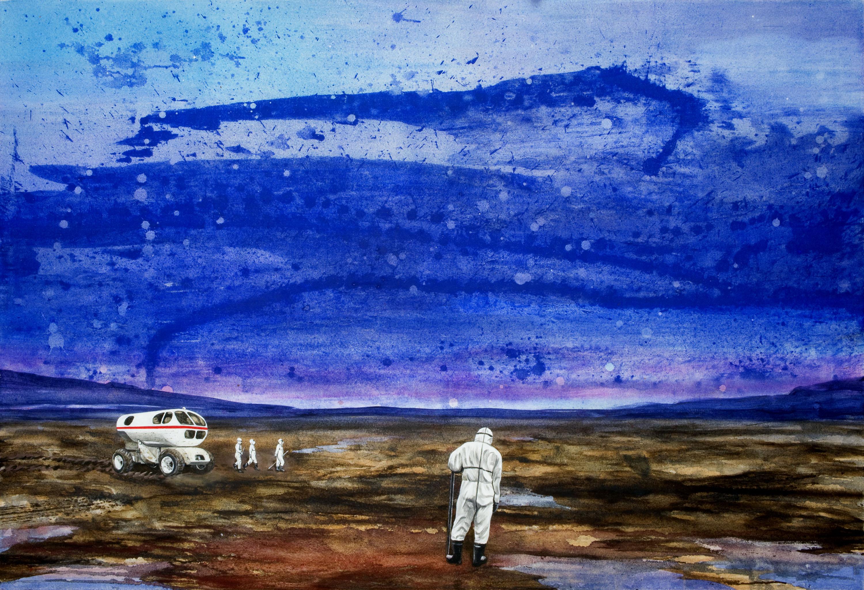 Gerhard Knell Landschaftsvisionen Landschaft Malerei Kunst Gemälde Acryl figürlich realistisch Großformatige Acrylmalerei Editionen Fine Art Prints blau braun Weite Mondauto Schutzanzug Forscher Himmel Messung