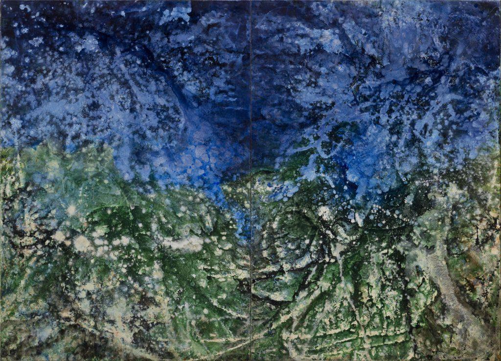 Abstraktes Landschafts-Gemälde in Acryl. Großformatiges Luftbild.
