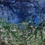 Gerhard Knell Landschaftsvisionen Landschaft Malerei Kunst Gemälde Acryl figürlich realistisch Großformatige Acrylmalerei Editionen Fine Art Prints grün blau orange Luftbild Vogelperspektive abstrakt Action Painting Ufer Topografie
