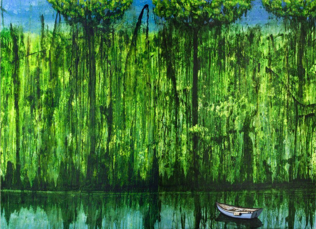 Landschaftsvisionen in Acryl realistisch: Ufer mit Boot am Waldrand im Urwald, smaragdfarben.