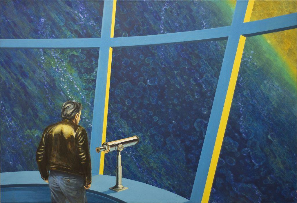 Das Gemälde in Acryl zeigt realistisch einen Mann in Lederjacke, der in einem Raumschiff am Fernrohr steht.
