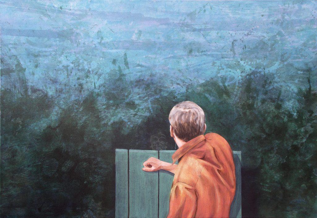 Gerhard Knell Landschaftsmalerei in Acryl figürlich Mann liegt auf Steg betrachtet seine Spiegelung Selbsterkenntnis liegend.
