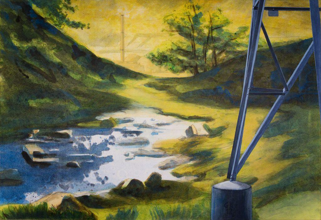 Landschaft am Neckar: Strommast mit Atomkraftwerk und romantischem Bach.