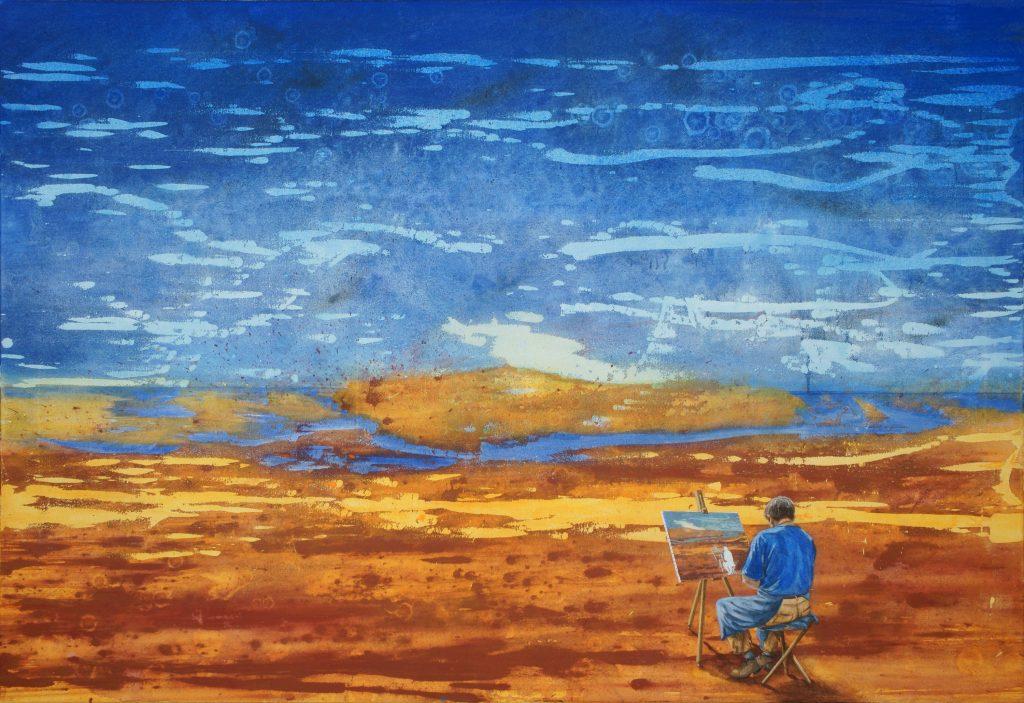 Gerhard Knell Landschaftsmalerei in Acryl figürlich: Maler sitzt an Staffelei.