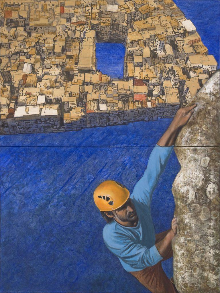 Gerhard Knell Landschaftsmalerei in Acryl figürlicher Kletterer beim Bergsteigen mit Helm hoch über Kowloon.