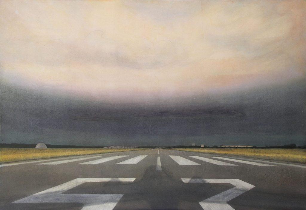 Gerhard Knell Landschaftsvisionen: Sonnenuntergang mit Landung Landebahn Flugplatz Wolken