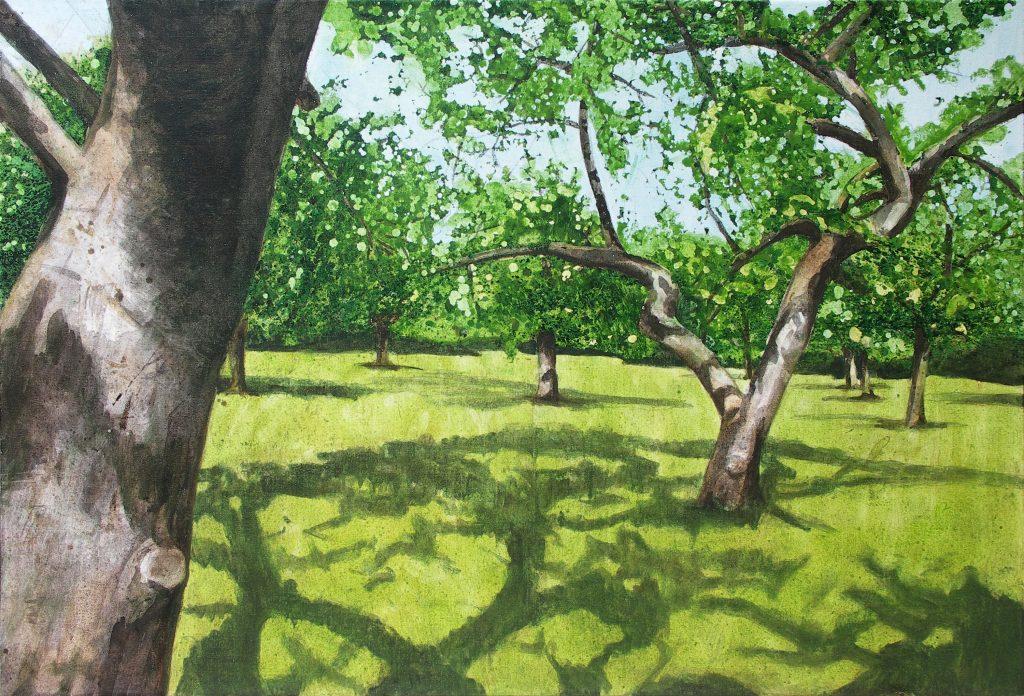 Malerei in Acryl realistische Landschaft mit Obstbäumen auf Wiese im Sommer.