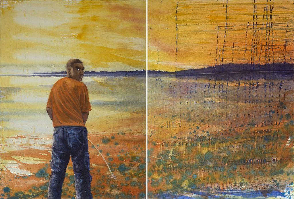 """""""Meine Landschaftsvisionen behandeln das Verhältnis Mensch und Natur. Archaisch anmutender Mann pinkelt ins Wasser"""