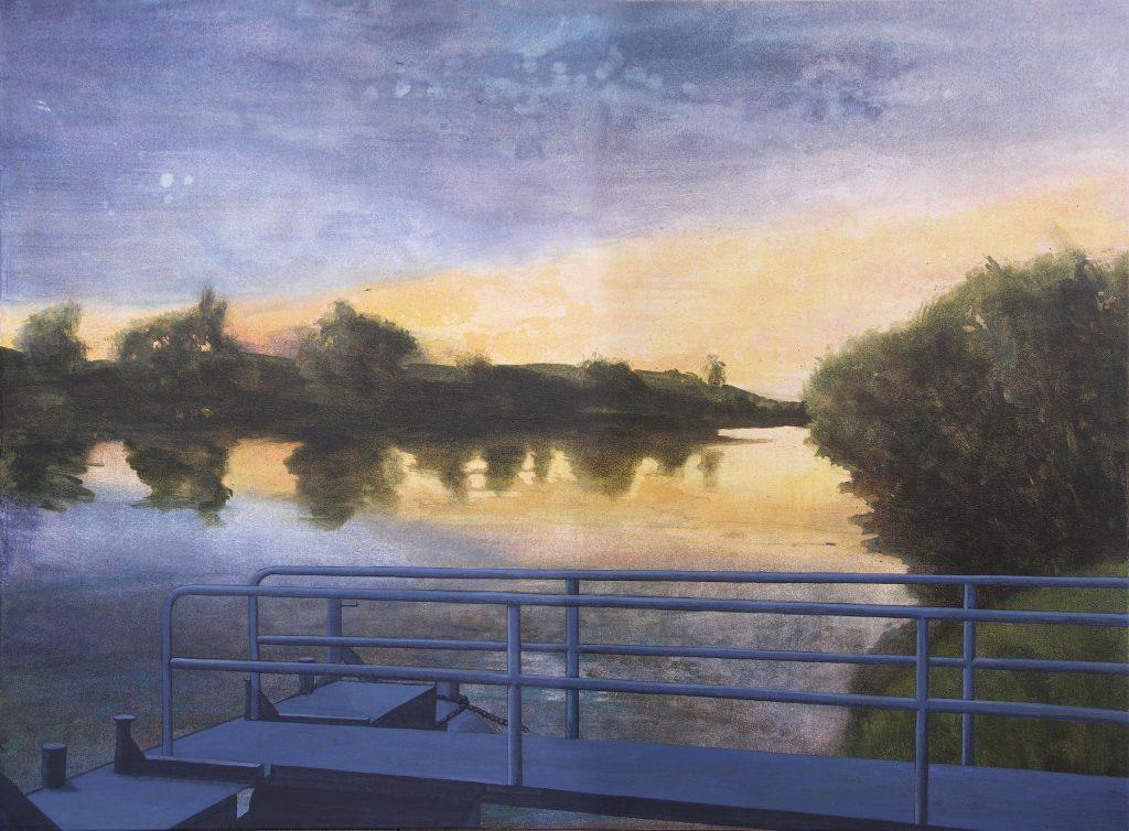 Gemälde in Acryl realistisch: Flussufer mit Landungssteg und Geländer am Neckar.