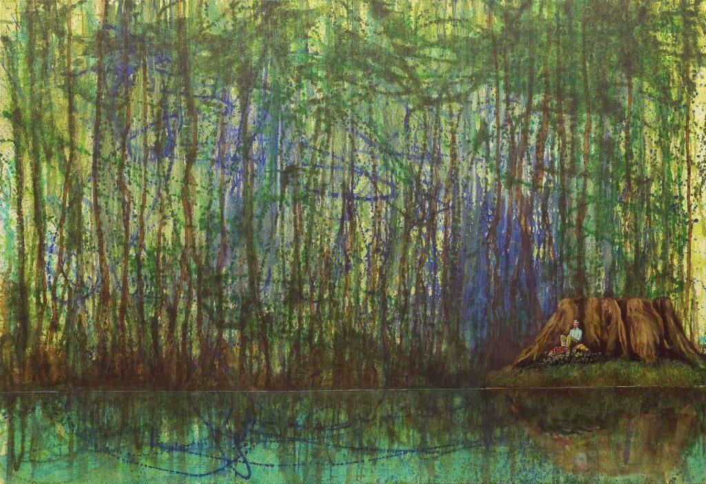 Landschaftsvisionen in Acryl figürlich: Mann sitzend an Baumstumpf im Wald, Jackson Pollock.