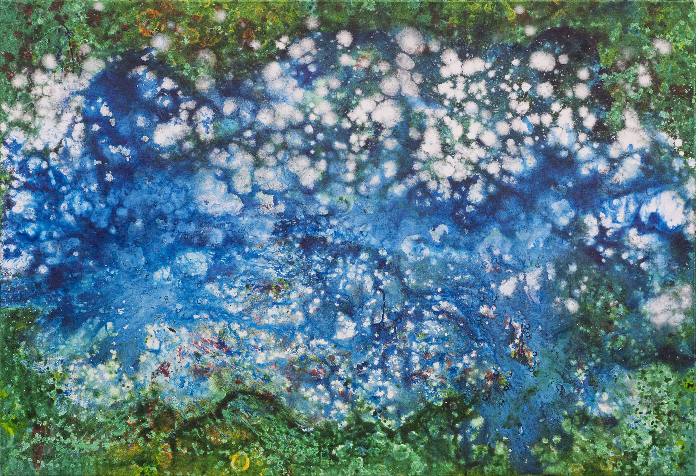 Gerhard Knell Landschaftsvisionen Landschaft Malerei Kunst Gemälde Acryl Großformatige Acrylmalerei Editionen Fine Art Prints blau weiß grün abstrakt Vogelperspektive Luftbild Jackson Pollock Action Painting Wolken Wasser