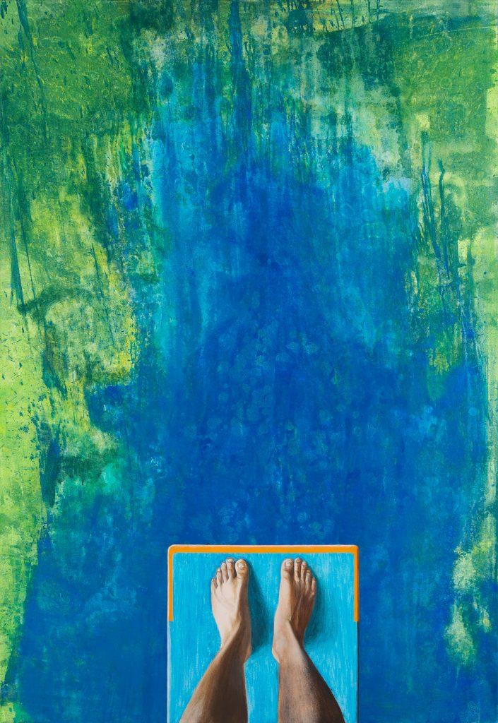 Acrylgemälde zeigt realistisch die Füße eines Mannes auf einem Sprungbrett in großer Höhe Absprung springen