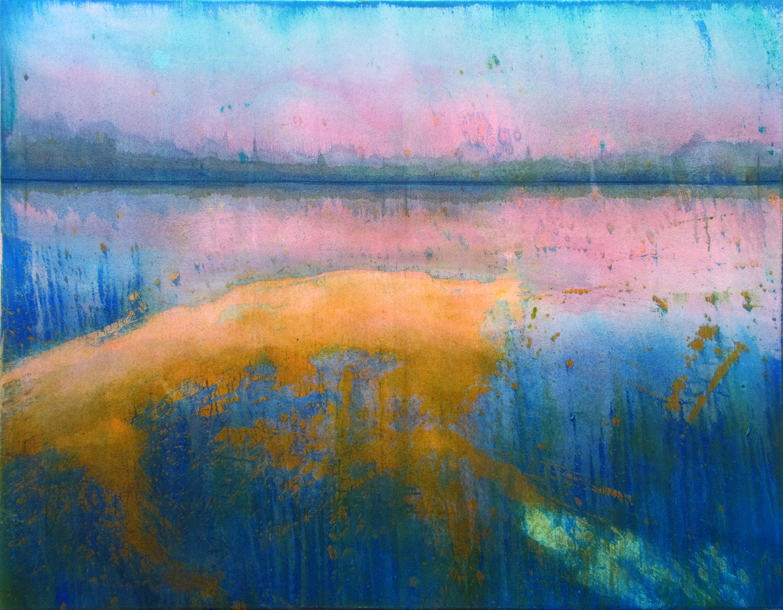 Gerhard Knell Landschaftsvisionen Landschaft Malerei Kunst Gemälde Acryl figürlich realistisch Großformatige Acrylmalerei Editionen Fine Art Prints blau rosa orange abstrakt Stille Horizont
