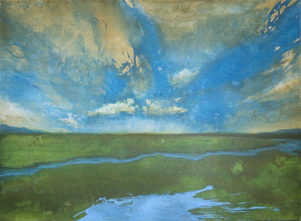 Gerhard Knell Landschaft in Acryl realistische Wolken, Bach, Wiese.