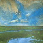Gerhard Knell Landschaftsvisionen Landschaft Malerei Kunst Gemälde Acryl figürlich realistisch Großformatige Acrylmalerei Editionen Fine Art Prints grün blau Wolken Weite Bach Wiese