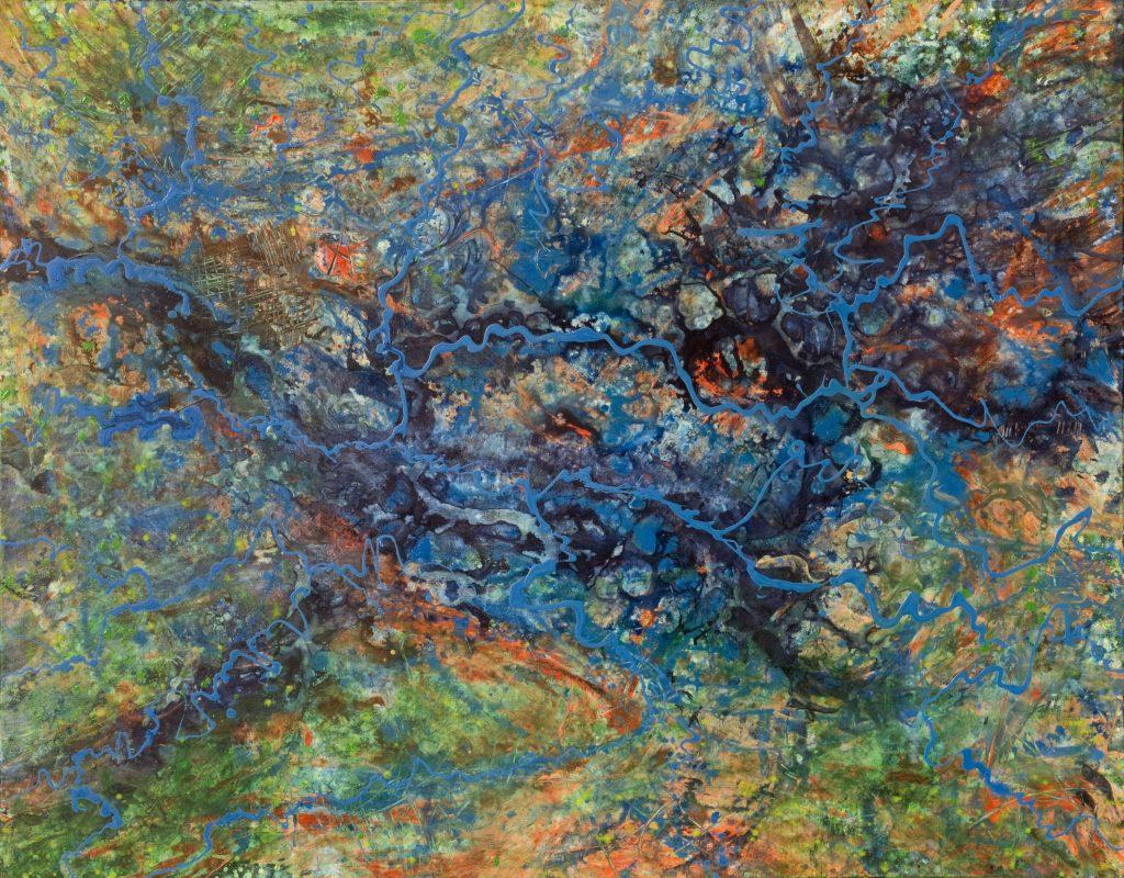 Abstrakte Acryl Malerei: Wasseradern, Gebiet aus der Vogelperspektive.