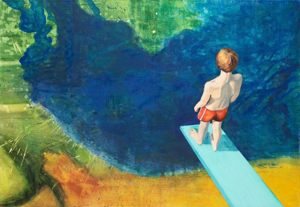 realistische Großformatiges Acrylbild: Ein Junge in Badehose auf einem Sprungbrett.