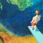 Gerhard Knell Landschaftsvisionen Landschaft Malerei Kunst Gemälde Acryl figürlich realistisch Großformatige Acrylmalerei Editionen Fine Art Prints grün orange blau rot Steg Junge Badehose Sprungbrett Wasser Höhe hoch Tiefe Absprung springen