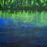 Gerhard Knell Landschaftsvisionen Landschaft Malerei Kunst Gemälde Acryl figürlich realistisch Großformatige Acrylmalerei Editionen Fine Art Prints grün blau Ufer Boot Waldrand Tiefe Stille Einsam