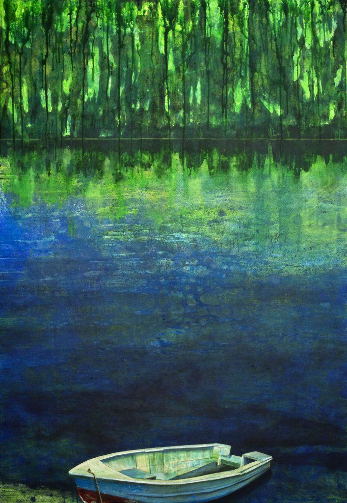 Gemälde in Acryl realistisches Ufer mit Boot am Waldrand. Tiefe, Stille, Einsam.