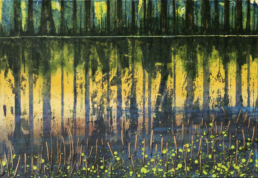 Landschaftsvision in Acryl: Ufer mit Waldrand Spiegelung im Wasser.