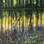 Gerhard Knell Landschaftsvisionen Landschaft Malerei Kunst Gemälde Acryl realistisch Großformatige Acrylmalerei Editionen Fine Art Prints grün gelb Ufer Waldrand Tiefe Stille Einsam Urwald Spiegelung