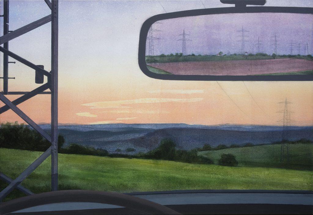 Gemälde Acryl realistisch weite Landschaft im Odenwald mit Autospiegel, Strommast.