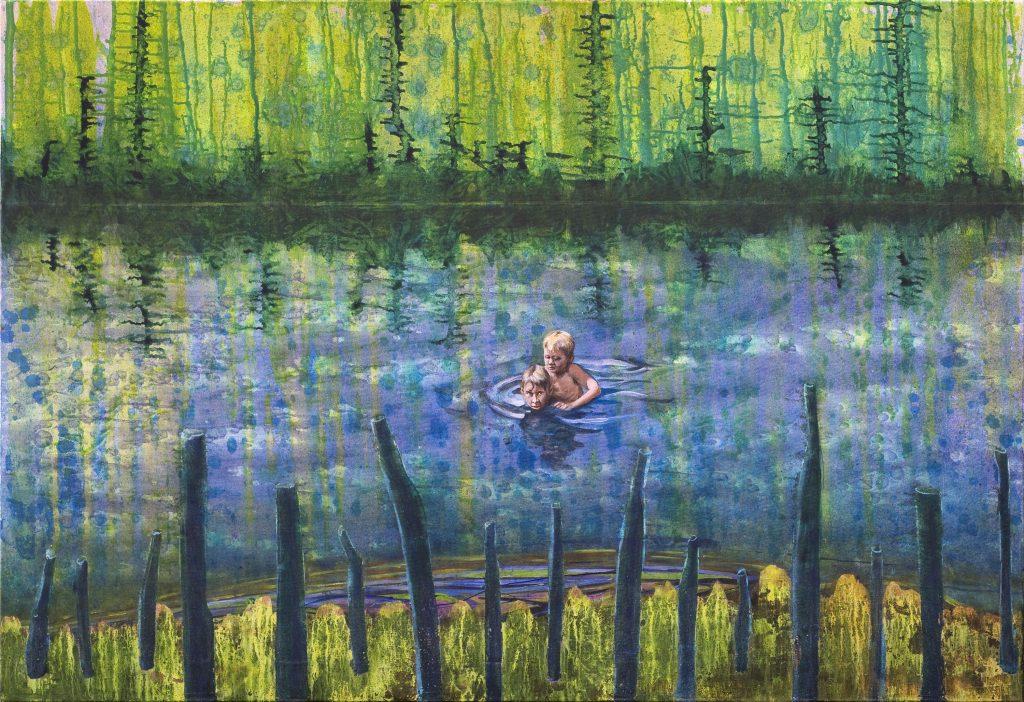 Gerhard Knell Figürliche Landschaftsmalerei in Acryl: Zwei Jungen schwimmen Rettung, Huckepack.