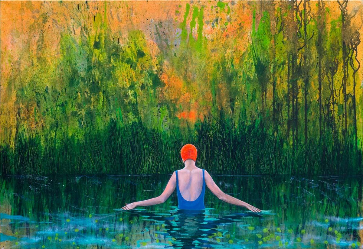 #Frau #Teich #Abendstimmung #baden #schwimmen #Badeanzug #Badekappe #Rückenansicht #stimmungsvoll #woman #pond #lake #evening mood #swimming #swimming suit #rear view