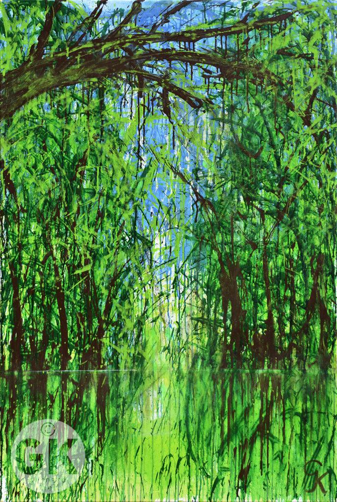 Landschaft, Flussaue, Grüne Bäume. Zeitgenössische Kunst, moderne Malerei, Acrylgemälde, Großformatig, Actionpainting, Buch der, Richter, Gerhard Knell; Landscape; Landschaftsgemälde