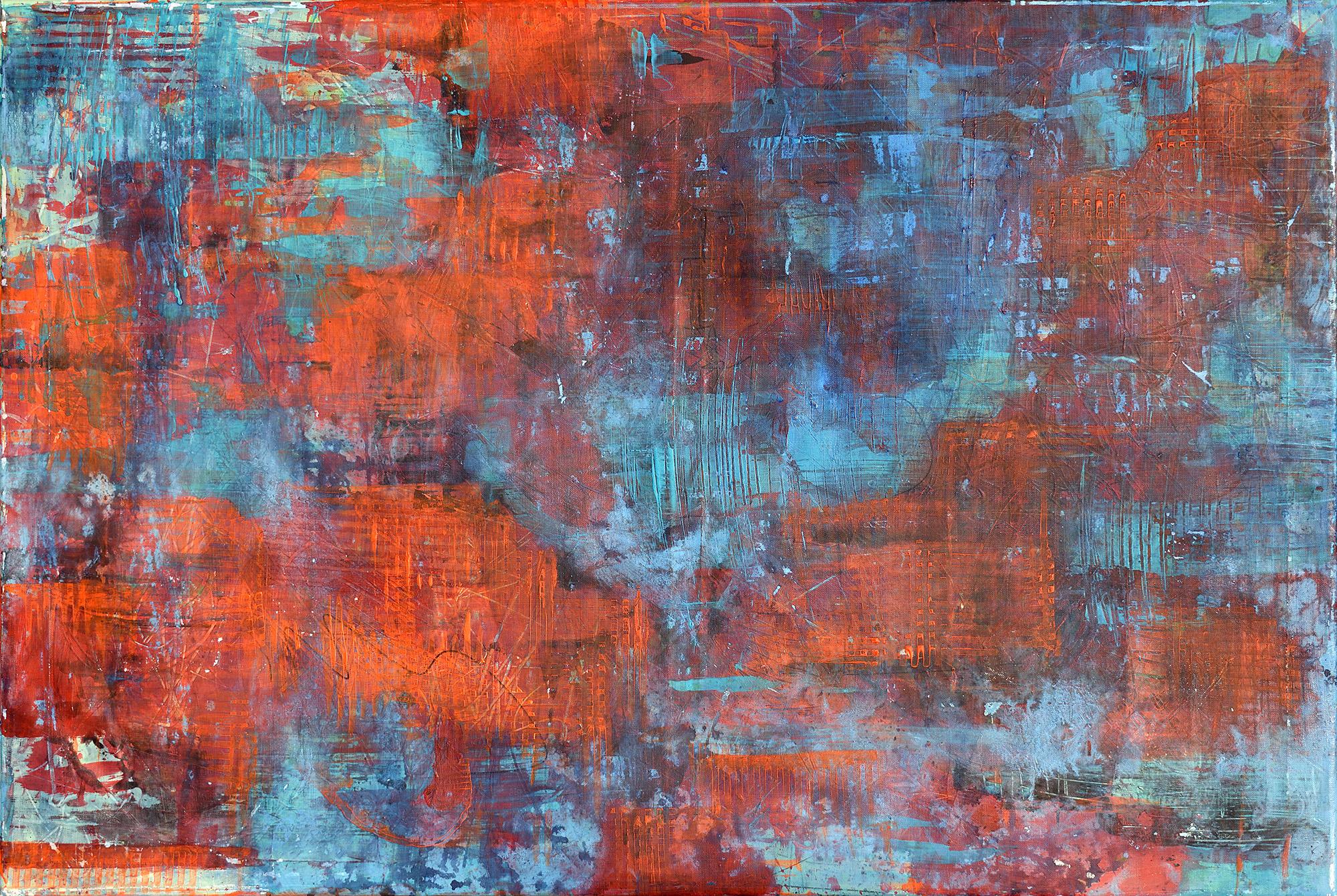 Strugatzky, Science Fiction, Wanderer, rot und blau, Draufsicht. Zeitgenössisches Gemälde von Gerhard Knell