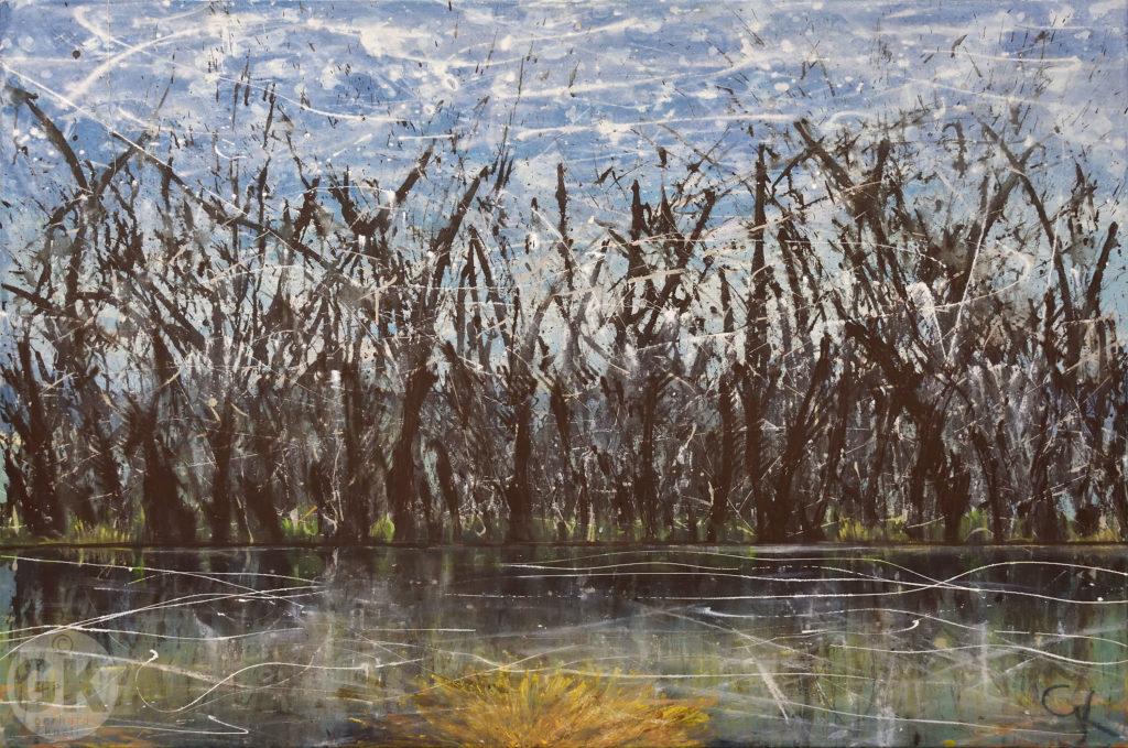 Erster Frost auf dem See, In Kälte erstarrte Landschaft, entlaubte Bäume. Zeitgenössische Kunst, moderne Malerei, Acrylgemälde, Großformatig, Actionpainting, Buch der, Richter, Gerhard Knell; Landscape; Landschaftsgemälde