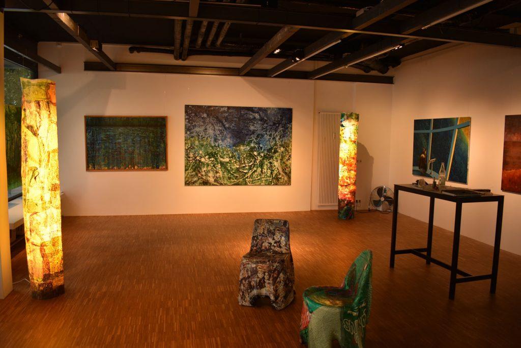 Gemälde, Lichtobjekte aus Recyclingkunststoff, Hartmut und Gerhard Knell