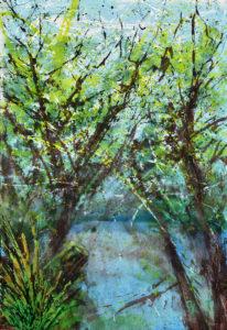 Imaginärer Blick durch die Bäume auf Walden Pond, den See, wo Henry David Thoreau sein berühmtes Buch Walden schrieb. Zeitgenössische Kunst, moderne Malerei, Acrylgemälde, Großformatig, Buch der, Richter, Gerhard Knell, Henry David Thoreau; Walden; Landscape; Landschaftsgemälde