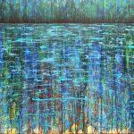 Zeitgenössisches Gemälde von Künstler Gerhard Knell, Acryl, Holz, Landschaft Wasser Ufer
