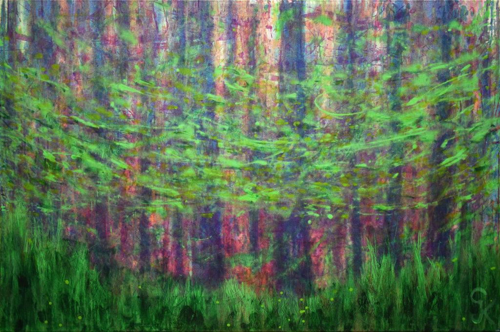Waldweben, an Richard Wagner und sein Musikstück aus dem Ring der Nibelungen angelehntes, modernes Acrylgemälde